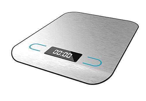 Cecotec Báscula de Cocina Digital Cook Control 8000, Alta precisión, Acero Inoxidable, Diseño Extraplano, Pantalla LCD Retroiluminada Extragrande, Capacidad Máxima 5 Kg con Precisión de 1 g