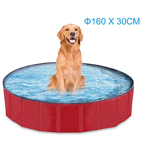 mewmewcat Hundepool Schwimmbecken Für Kleine & Große Hunde, Faltbare Hund Planschbecken,Planschbecken für Hunde 160/120 * 30 cm Optional erhältlich Badewanne Pool PVC Rot