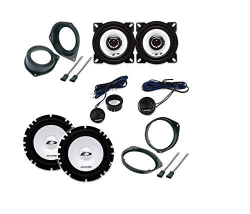 Kit 6 enceintes Haut-parleurs pour FIAT GRANDE PUNTO Alpine avec adaptateurs et cadres de montage