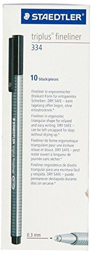 Staedtler Triplus Fineliner Pens, 0.3mm, Black, Pack of 10 (334-9)