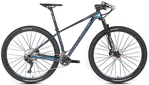 HCMNME Durable Bicycle, Outdoor Sports Carbon Fiber Mountain Bike, XT27.5 inch 29 inch 22 Speed 33 Speed Double disc Brake Adult Men and Women Cross Country Mountaineering Bicycle Outdoor Riding