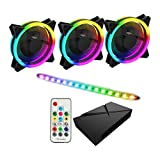 GameMax ARGB 3 in 1 Kit, 3 x GameMax Velocity Fans (for PC Cases, Coolers & Radiators), 1 x GameMax Viper LED Strip with ARGB PWM Hub (Six 3 Pin Or 4 PIN Power Fan Port) and RF Remote Controller