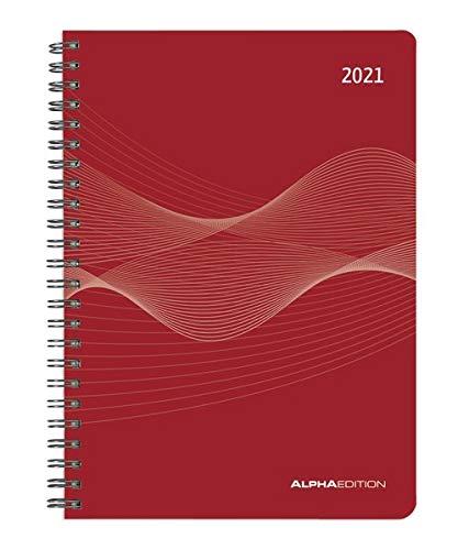 Wochenplaner PP-Einband rot 2021 - Büro-Kalender A5 - Cheftimer - Ringbindung - 1 Woche 2 Seiten - 128 Seiten - Alpha Edition