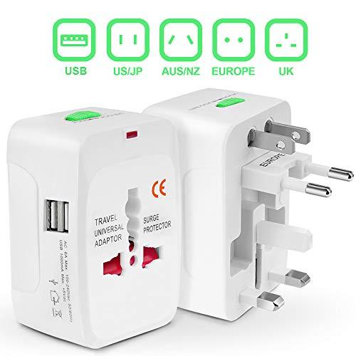 GiraVic Adaptador de Viaje Europeo Universal, Enchufe Cargador Internacional Con 2 Puertos USB Para Japón China Canadá USA EU UK AU más de 150 Países,...