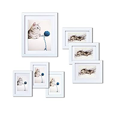 INNOCHEER Picture Frame Set of 7: Solid Wood, Three 4x6 Inches - Three 5x7 Inches - One 8x10 Inches