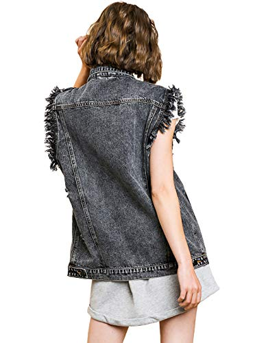 Women's Oversized Distressed Denim Vest Sleeveless Jean Jacket with Pockets 4