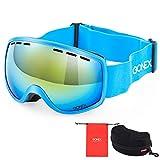 Gonex Kinder Skibrille, Snowboardbrille für Kinder von 3 bis 8 Jahren, Anti-Fog und 100% UV Schutz (Blau)