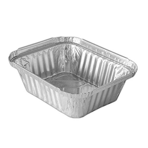 100 St. Aluschale mit Deckel | 450ml. | Grillschale | Alubehälter | Aluminiumschale | Tropfschale | Alu Menüschale | R28L (450B)