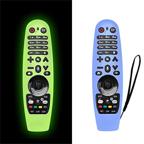 NANTING 2PCS Estuche actualizado LG Smart TV Remote Control para LG AN-MR600 / LG AN-MR650 / AN-MR18BA / AN-MR19BA, Estuche de Silicona anticaída/Antideslizante/Rayado/Polvo/Agua(Verde + Azul)