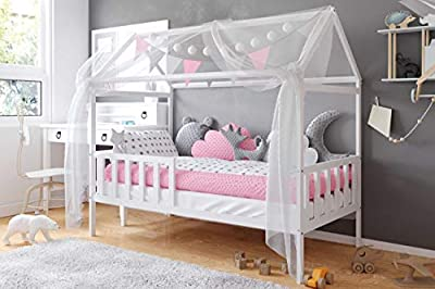 House Bed Montessori 70x140 80x160 Textiles Included - Toddler Cabin Bed - for Boys and Girls - Natural Pinewood - Safety Rail -