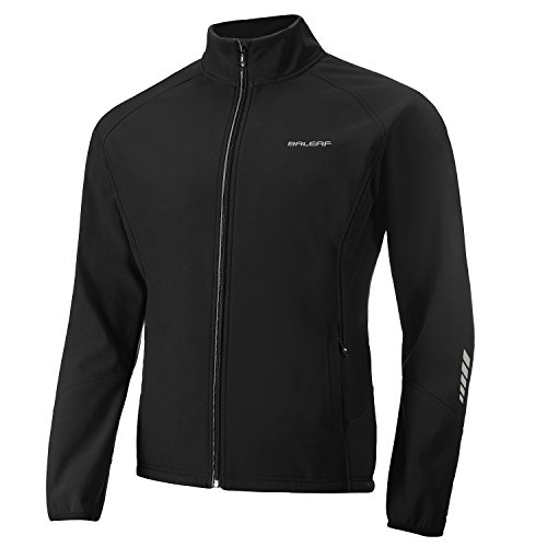 BALEAF Men's Windproof Cycling Running Jacket Thermal Softshell Water-Repellent Lightweight Windbreaker Winter Black Size L