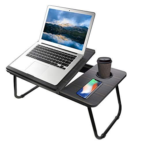 SMTTW Mesa Plegable para Portátil, Mesa de Cama Plegable para Trabajar,Estudiar,Desayunar en Cama o Sofá,Mesa Ajustable del Ordenador Portátil con el Portavasos-Negro