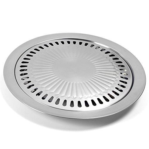 LZDseller01 Koreanische Grillplatte, Edelstahl-Antihaft-Braten Rauchfreie Grill-Grillpfanne für Camping-Grill im Innenbereich, Kochen köstlicher Braten