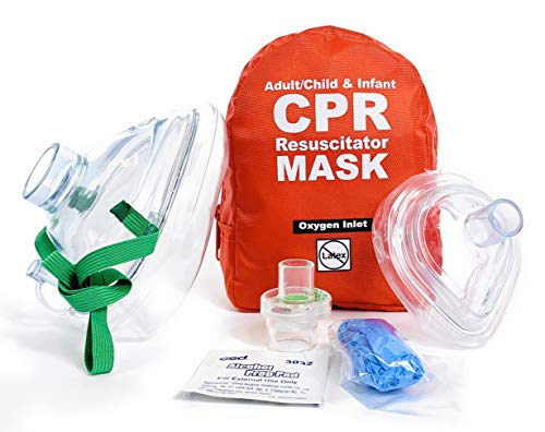 WNL Products Adult/Child amp Infant Pocket CPR Rescue Resuscitation Mask Kit with One Way Valve and Belt Clip in Soft Red Case 1