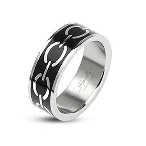 TAPSI S Cool Body Art Acciaio inossidabile Unisex Anello Argento Nero 6o 8mm larghezza Love Links disponibile anello misure 50(16)–69(22), acciaio inossidabile, 66 (21.0), colore: argento, cod. CBAR-M1001_120