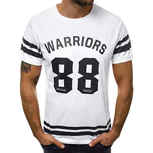 Zarupeng T-shirt met korte mouwen voor heren, toplos, casual, sportshirt met ronde hals, basic thee, bovendeel blouse