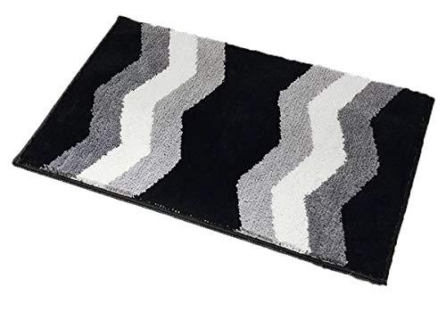 Fußmatte von eBoutik, waschmaschinenfest, Schmutzfangmatte, TPR-Anti-Rutsch-Technologie-Teppich, Polypropylen, Zick-Zack in Schwarz und Weiß, 50cm * 80cm