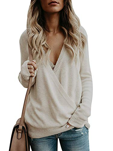 Damen Sweater Pulli Langarm Casual Sexy V-Ausschnitt Pullover Sweatshirt Oversize Loose Lange Ärmel Stricken Oberteil Tops Rückenfrei Fledermaus Batwing Rücken Kreuz, L, Aprikose