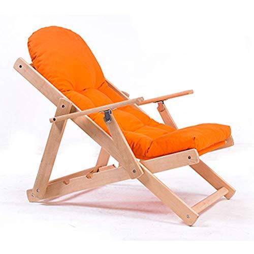 ZHFZD Klapstoel Zitzak, faul sofa stoel balkon Siesta lounge stoel gemaakt van houten bank stoel (kleur: groen) Size oranje