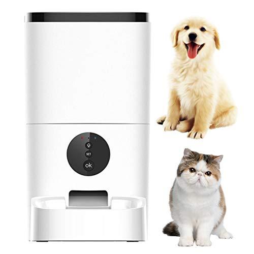YUNDING 4L/6L Grosse Kapazität Pet Automatic Feeder Smart Voice Recorder APP-Steuerung Timer-Zuführung Katzenhundefutter-Spender WiFi-Version(Color:4L)