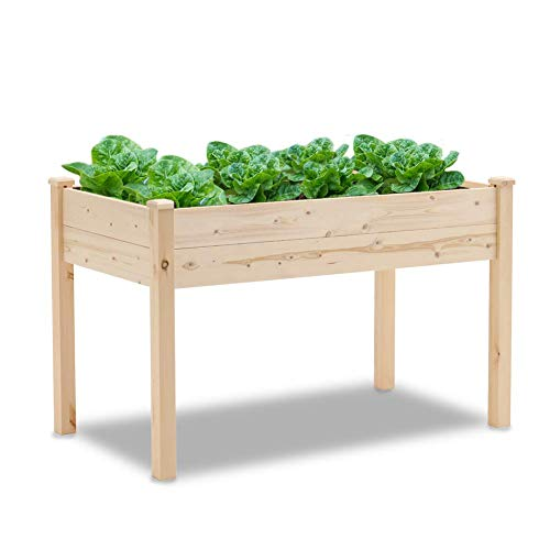 Patiomore 4 Feet Outdoor Wooden Raised Garden Bed Planter Box Kit for Vegetable and Fruit Herb Growing, Patio or Balcony Gardening, Natural