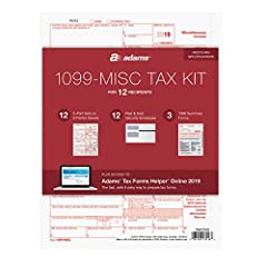 The Adams 1099 MISC Forms 2019 kit includes everything needed to file your 1099s for 12 recipients, including access to Adams Tax Forms Helper Online for 2019 Use 2019 1099 MISC forms to report miscellaneous income other than wages, salaries and tips...