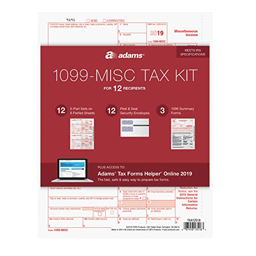 Adams 1099 MISC Forms 2019, 5 Part Tax Forms Kit, 12 Recipients Kit of Laser/Inkjet Forms, 3 1096 Summary Forms, 12 Self Seal Envelopes, Tax Forms Helper Online (TXA12518)