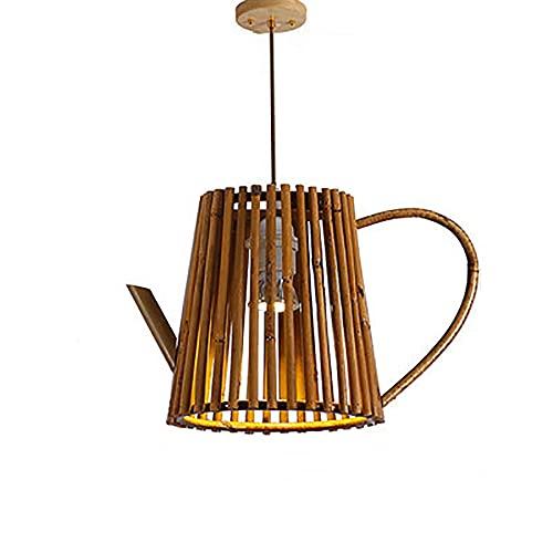 KAIKEA Tetera American Light Lámpara de mimbre de lujo Moderna y creativa Candelabro de ratán Restaurante Club Decoración Lámpara colgante E27 Lámpara individual Lámpara colgante de gota ajustable (12