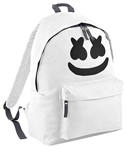 Kids Marshmallow Candy Smile Hoodie Battle Royale Gig Boys Girls School Backpack Lunch Bag White/Graphite Grey