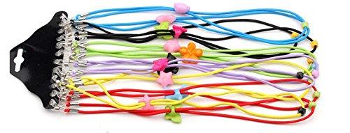Lunettes en forme de chaîne – 12 couleurs assorties élastique réglable Lunettes de lecture Eyewear Embases cou Sangle de sécurité Cord Corde support pour Kid enfants