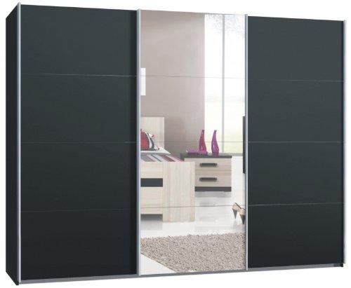 Webesto Schwebetürenschrank, Kleiderschrank, ca. 300 cm, 3-Türen, Anthrazit mit Spiegel