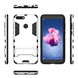 Huawei P9Lite Case, Awesome Armor Foldable Movie Back Stand Slim Funda, TAITOU New Ultra Hybrid 2 In 1 Thin Anti Drop/Scratch Warrior Protect Phone Case For Huawei P9 Lite Silver