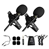Warmray Lavalier Lapel Microphone 2 Pack Clip-on for Bloggers, Phone Microphone for Android/iPhone/iPad Recording, Wired Lavalier Mic, Interview Mic for Podcast/Camcorder/GoPro/YouTube/Vlog/DJs/ASMR