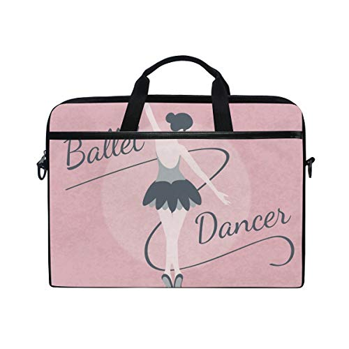 EZIOLY Elegant Ballet Dancer Lady Pink Laptop Shoulder Messenger Bag Case Sleeve for 13 Inch to 14 inch Laptop