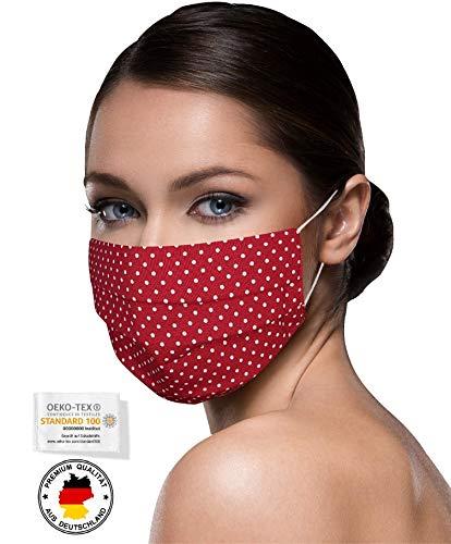 Unisex Stoffmasken Mundschutz Maske Stoff 100% Baumwolle Mund Nasen Schutzmaske mit Motiv Mund und Nasenschutz Maske waschbar WEINROT