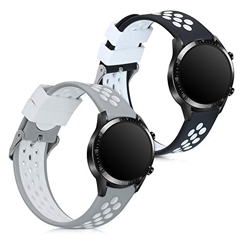 kwmobile Armband kompatibel mit Huawei Watch GT2 (46mm) - 2X Silikon Fitnesstracker Sportarmband