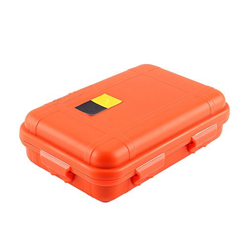 Yosoo Outdoor Waterproof Airtight Survival Storage Case Container Fishing Carry Box (Orange, L)