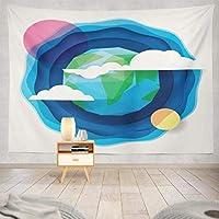 Jbralid 漫画ポリゴンデザイン地球太陽と月 おしゃれで快適です 壁掛け 装飾布 インテリア ウォールアート 多機能 室内 窓や壁の飾り パーティー用 お店 オリジナルプレゼント