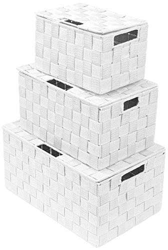 Sorbus Storage Box Woven Basket Bin Container Tote Cube Organizer Set Stackable Storage Basket Woven Strap Shelf Organizer Built-in Carry Handles Lid Bins - 3 Pack White