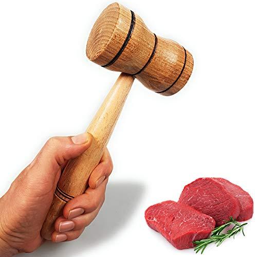 moonwood Holz Fleischhammer - Praktisches Küchenwerkzeug Natürliches Premium Naturholz Hochleistungsholzhammer Werkzeug & Chicken Pounder 23 cm (Made in Turkey)