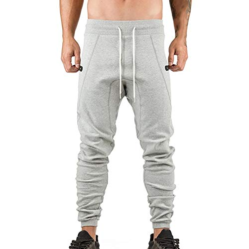 Heren Trainingsbroek Trendy Skinny Sport Pencil Jogger Heren Casual Joggingbroek Male Zipper Pockets Gym X-Large lichtgrijs