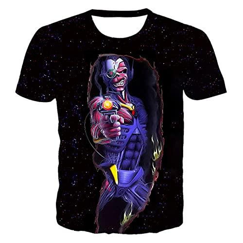 DREAMING-Verano 3D impresión Digital Camiseta Casual Suelta Cuello Redondo pulóver Top Hombres y Mujeres Manga Corta 5XL