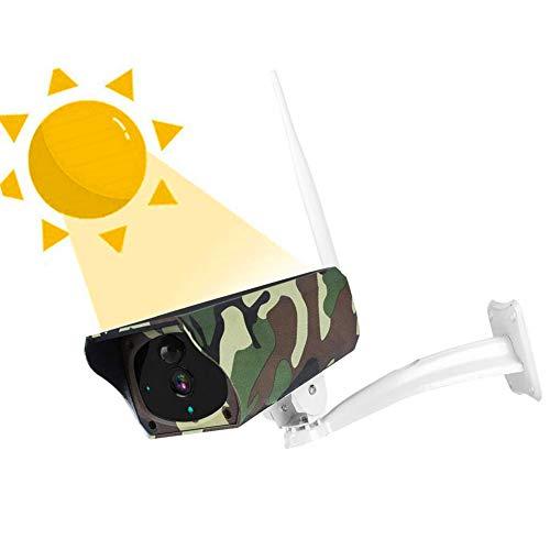 Cámara IP Solar Impermeable, cámara de Bala para Exteriores con Sensor de Movimiento PIR/visión Nocturna por Infrarrojos/Audio bidireccional/Control Remoto/Tarjeta TF