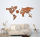 Damuzhi Mapa Mundi Pared Grande,Mapa Mundi Pared,Mapa Del Mundo Para Pared,Decoración De Pared De Mapa Del, Reloj De Pared,Pegatinas De Pared Decoración ,Reloj Pared M (130 * 66 Cm) Grano De Madera