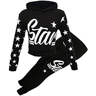 Girls Star Printed Long Sleeve Hooded top & Bottom Set Kids Tracksuit (Black Star, 7-8 Years):Comoparardefumar