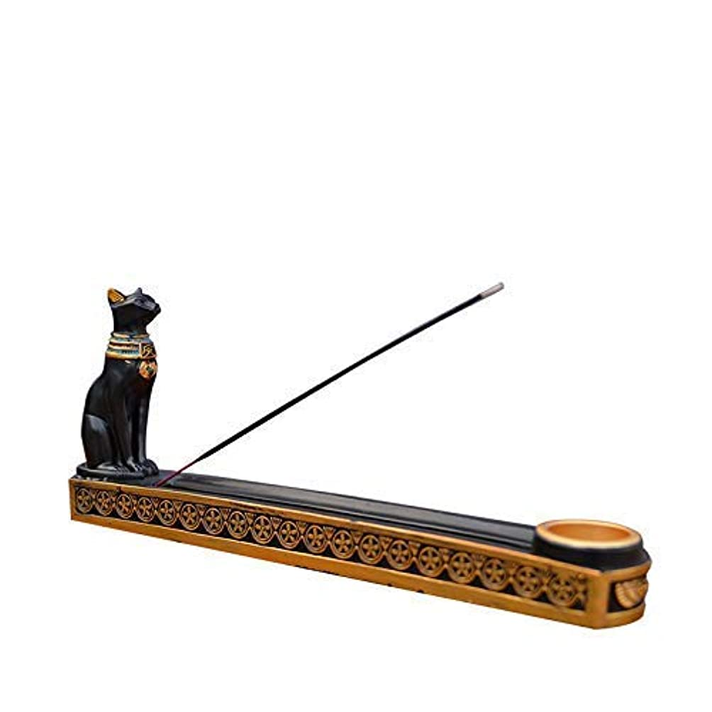 ガウンオート危険を冒しますtonntyann 横置き お香立て ボックス 猫 寝かせ スティックおしゃれ 線香立て お香 古代エジプト風 バステト神 アロマ お香 横置き ヒエログリフ ネ