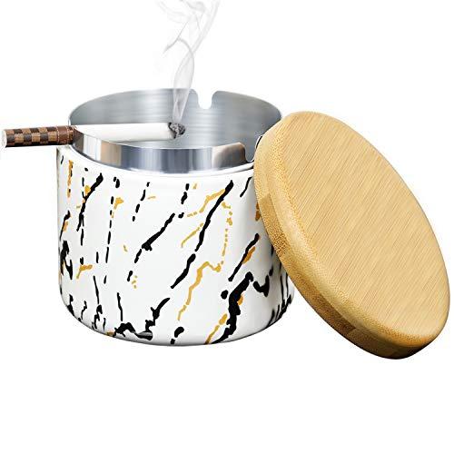 SEA or STAR Cenicero de cerámica con tapa Ceniceros a prueba de viento estampados a mano Ceniceros para cigarrillos domésticos o al aire libre - Blanco