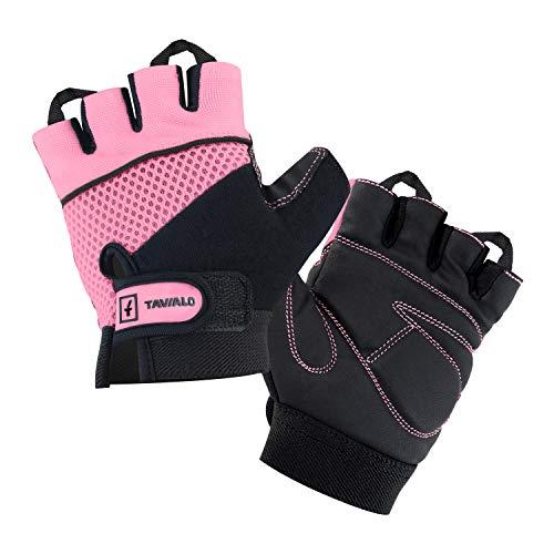 TAVIALO Guantes de Fitness para Mujer S (13-16 cm), Color Rosa/Negro, Guantes...