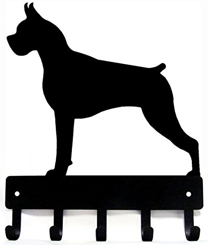 The Metal Peddler Boxer Key Rack Dog Leash Hanger - Large 9 inch Wide - Made in USA