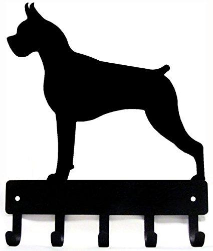 The Metal Peddler Boxer Key Rack Dog Leash Hanger - Large 9 inch Wide - Made in USA